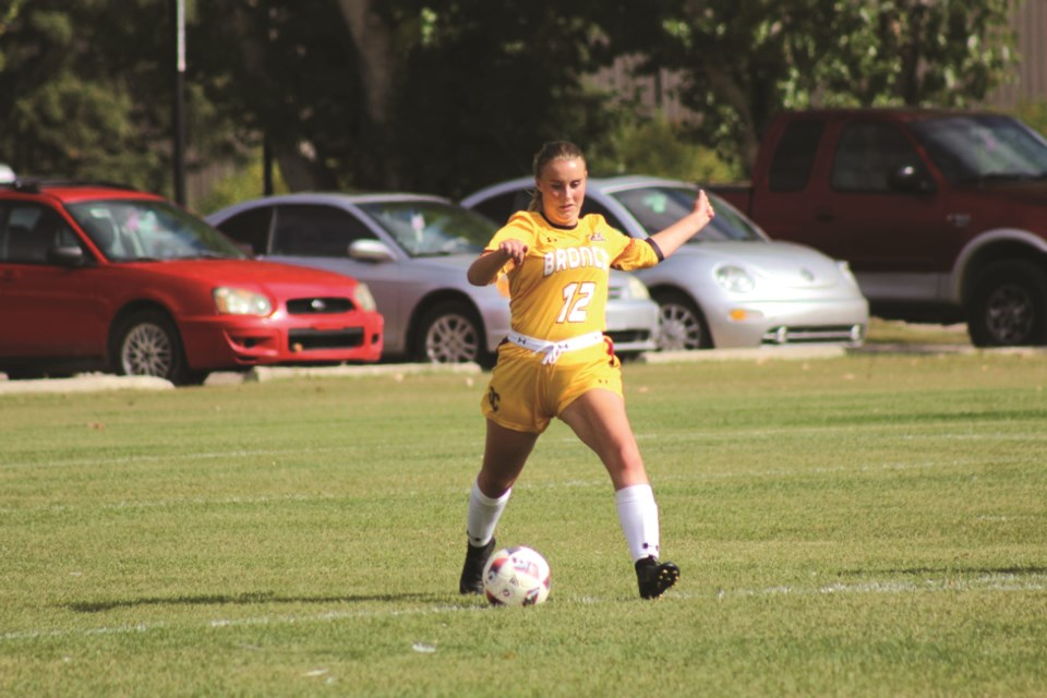 Airdrie's Kassidy Kelly has slotted in seamlessly to the Olds Broncos women's soccer team's back-four. The 18-year-old center back was recently honoured as the Broncos' Female Athlete of the Week for her strong performances Sept. 21 and 22.  Abbey Iverson/For Rocky View Publishing
