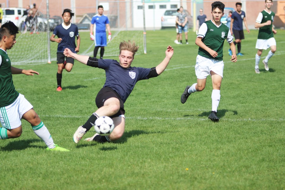 The St. Martin de Porres boys' soccer team's 2019 season came to a disappointing end May 29, with a 3-0 loss in the CSHSAA Division 3semi-final to the Bowness Trojans.  Photo by Scott Strasser/Rocky View Publishing