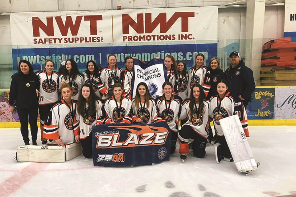 Airdrie's Laurie Reeve (back row, second from left) was named Ringette Alberta's coach of the year for the 2019-20 season. Reeve was the head coach of the Zone 2 AA Blaze U16 team, which won provincials. 