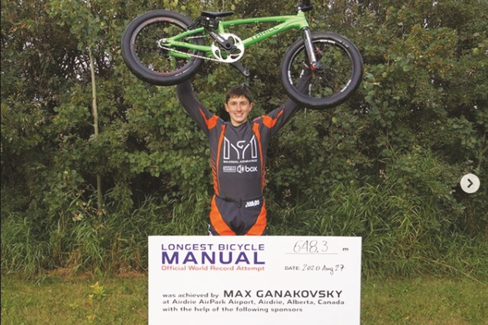 Calgary BMX rider Max Ganakovsky set a new Guinness World Record for the longest bicycle manual at the Airdrie AirPark in August 2020. The record was verified last month.