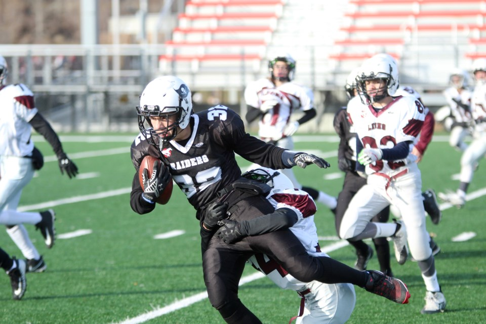 The Airdrie Raiders bantam team will vie for the CBFA Division 2 championship Nov. 2, after winning its semi-final Oct. 26, 30-6 against the Cochrane Lions. Photo by Scott Strasser/Rocky View Publishing