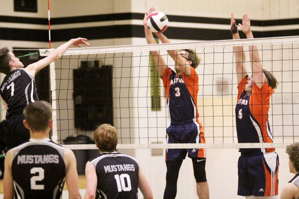 The George McDougall Mustangs senior boys' volleyball team overpowered the W.H. Croxford Cavaliers 3-0 Nov. 9 to earn third place in the RVSA. Photo by Scott Strasser/Rocky View Publishing
