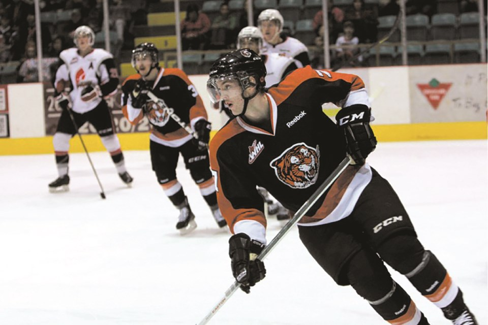 Spenser Jensen, seen here playing for the Medicine Hat Tigers, was one of two Airdrie hockey products impacted by the University of Lethbridge cutting its varsity hockey programs. Jensen spent five seasons with the U of L hockey program after his junior career. File photo/Airdrie City View
