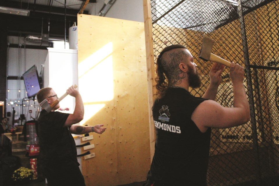 Rival Axe Throwing in Airdrie hosted the inaugural Rival Open  Aug. 29, with 32 axe-throwers competing from Ontario, Saskatchewan, British Columbia and Alberta.  Photo by Scott Strasser/Airdrie City View
