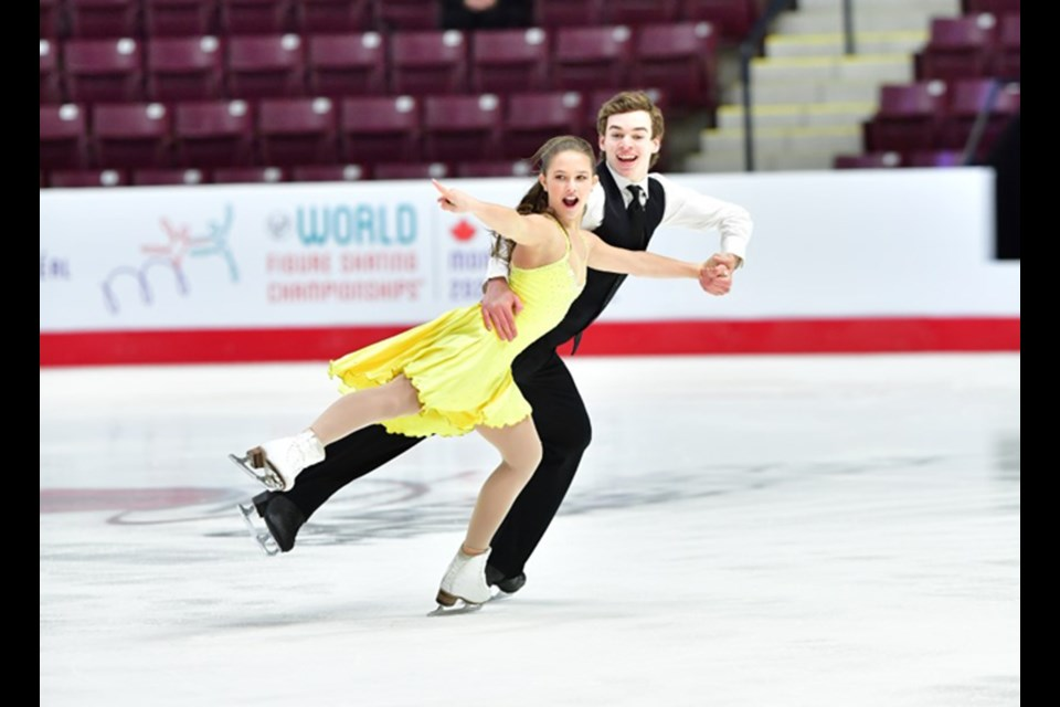 Airdrie figure skater Savanna Martel, 14, competed at her first national figure skating championships in January. Martel skated to an eighth-place showing in the novice ice dance competition, alongside Kobi Chant, of Olds. Photo Submitted