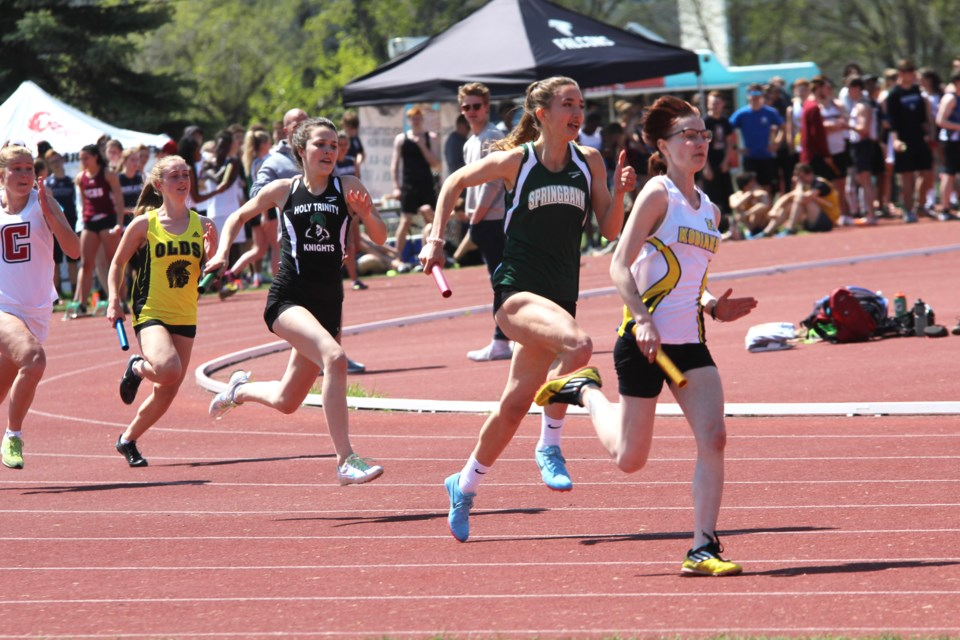 Dozens of high school athletes from Rocky View County gave it their all at the 2019 South Central Zones track and field meet, held May 22 in Calgary.  Photo by Scott Strasser/Rocky View Publishing