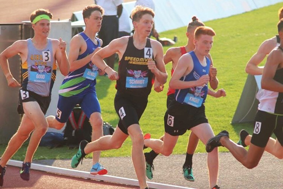Middle-distance runner Aiden Good (far left) raced for the Airdrie Aces in the 800-m at the 2019 National Track and Field Championships in Montreal, July 25 to 28. 