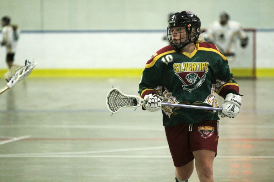 The Rockyview Silvertips Jr. Ladies suffered a heavy defeat June 2. The Airdrie-based team is currently fifth in the Jr. Ladies division of the Rocky Mountain Lacrosse League.  Photo by Scott Strasser/Rocky View Publishing