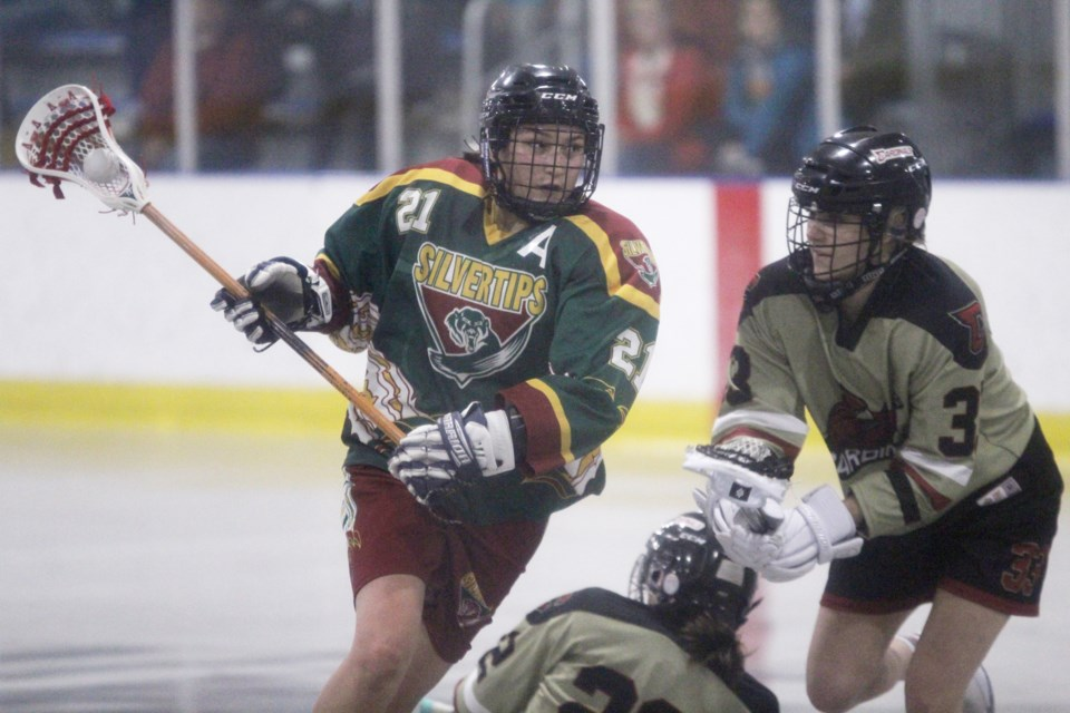Rockyview player Callie Hanger goes for a goal against the Calgary Cardinals, June 21. The Silvertips Junior Ladies team lost its final game of the season 17-6. 