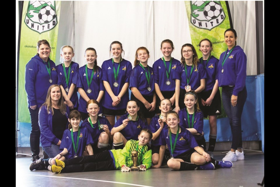 Airdrie FC's U13 Tier III girls' soccer team won gold at the Anthem United Communities Cup, Jan. 17 to 19 in Okotoks. Photo Submitted