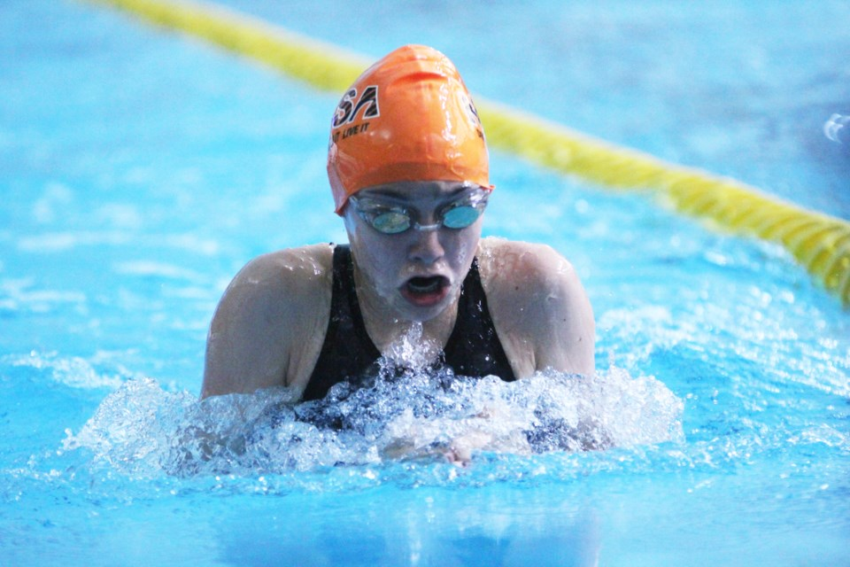 Thirteen-year-old Montana Dobry competed in the 100-m breast stroke event at junior nationals. Her time of 1:20.37 moved her up eight spots in her age category rankings. Photo by Scott Strasser/Rocky View Publishing