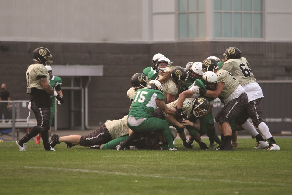 Returning to Ed Eggerer Athletic Park after a long hiatus, the Airdrie Irish men's football team played against the Edmonton Elite on July 31. Photo by Carmen Cundy/Airdrie City View