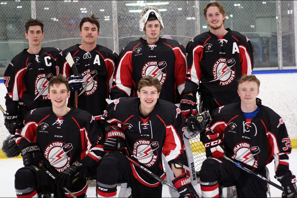 Five members of the Airdrie Techmation Thunder will represent the junior B team in the 2019-20 HJHL All Star Game, while three will skate in the Prospects Game. Photo Submitted/For Rocky View Publishing
