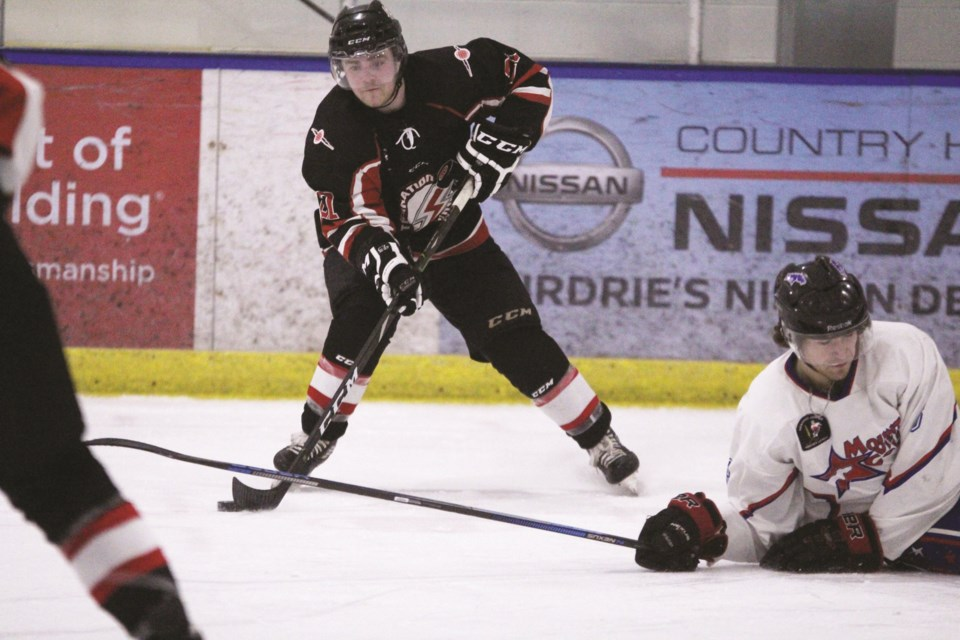 Heading into Game 4 Feb. 26, the Airdrie Thunder junior B team is down 2-1 in its best-of-seven series with the Mountainview Colts. Photo by Scott Strasser/Airdrie City View