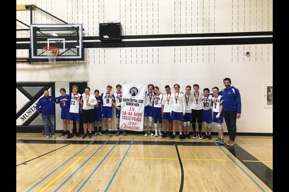 The Bert Church Chargers junior boys' volleyball team captured the school's first South Central Zones banner in 26 years Nov. 16. Photo Submitted/For Rocky View Publishing