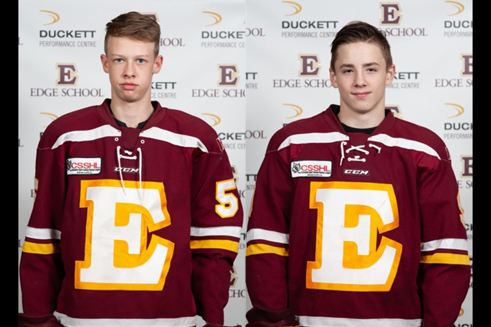 Airdrie hockey players Jaren Brinson (left) and Josh Davies (right) played for Team Alberta in the 2019 WHL Cup. The team finished fourth at the tourney, which features the top U16 hockey players from Canada's four western provinces. File Photo/Rocky View Publishing
