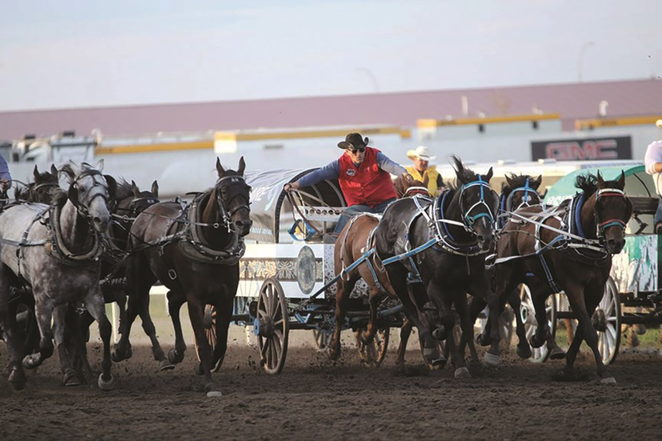 The World Professional Chuckwagon Association has cancelled its 2020 Pro Tour, which would have capped off at the Century Downs Racetrack and Casino in East Balzac this August. File photo/Airdrie City View