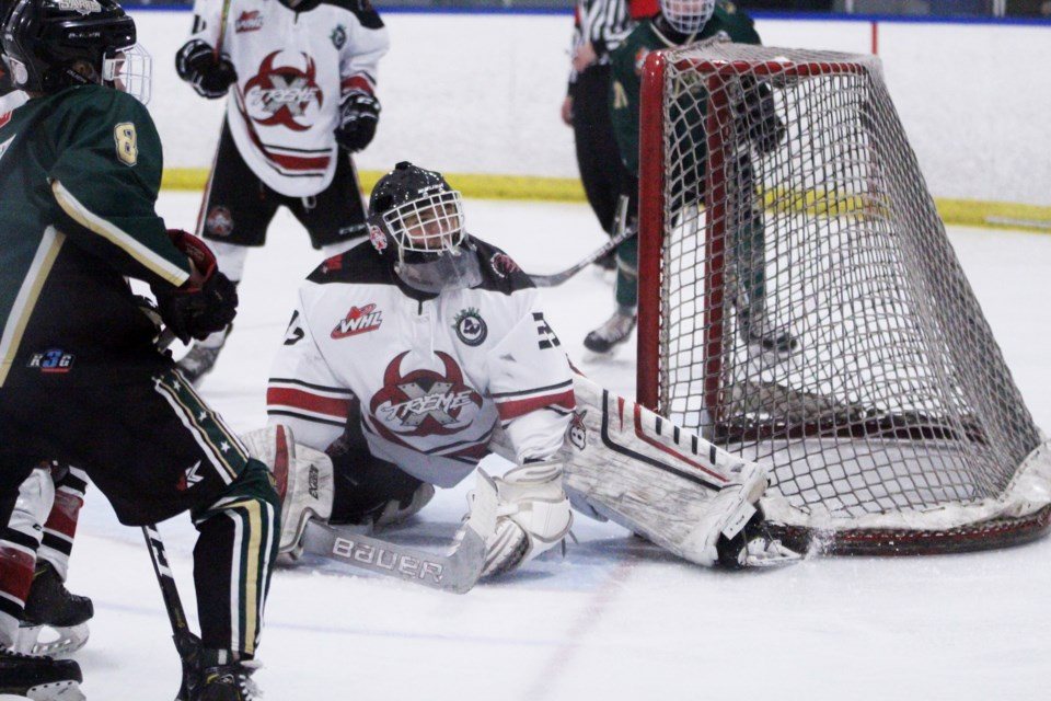 Second-year goaltender Zach Zahara was selected in the eighth round of the 2020 WHL Bantam Draft by the Medicine Hat Tigers. File photo/Airdrie City View