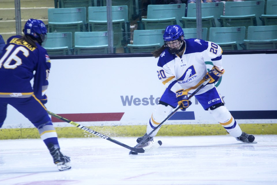 Cochrane hockey player Sarah Wozniewicz enjoyed a sparkling 2019, which included winning the gold medal with Team Alberta at the 2019 Canada Winter Games, two call-ups to the Canadian U18 women's national team and being the top-scorer for the Edge School's female prep team. File Photo/Rocky View Publishing