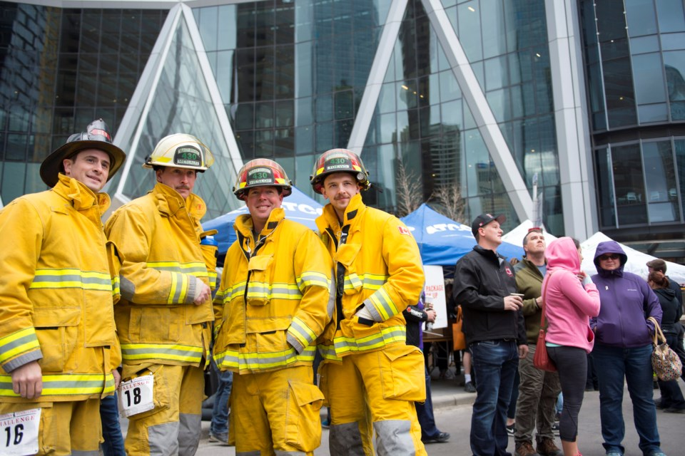 Firefighters, including some from Airdrie, will take part in the fifth annual Firefighter Stairclimb Challenge. Participants will climb the 1,204 steps Calgary's Bow Building May 5 to raise funds for Wellsprings Canada.