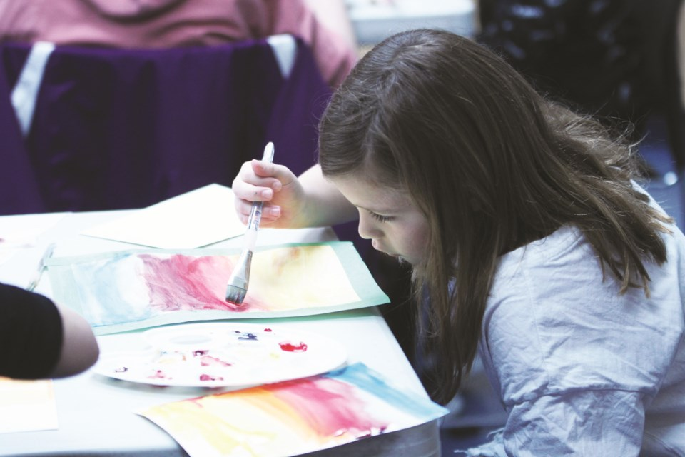Airdrie's budding artists enjoyed a lesson in watercolours Feb. 8 from Alesha Buczny at Airdrie Public Library. Photo by Scott Strasser/Airdrie City View