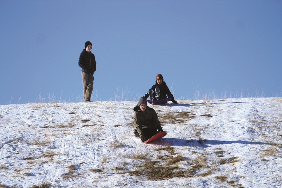 Mild winter weather and sunny skies Nov. 21 offered the perfect opportunity for Airdronians to enjoy an afternoon of sledding at East Lake Regional Park. Photo by Scott Strasser/Airdrie City View