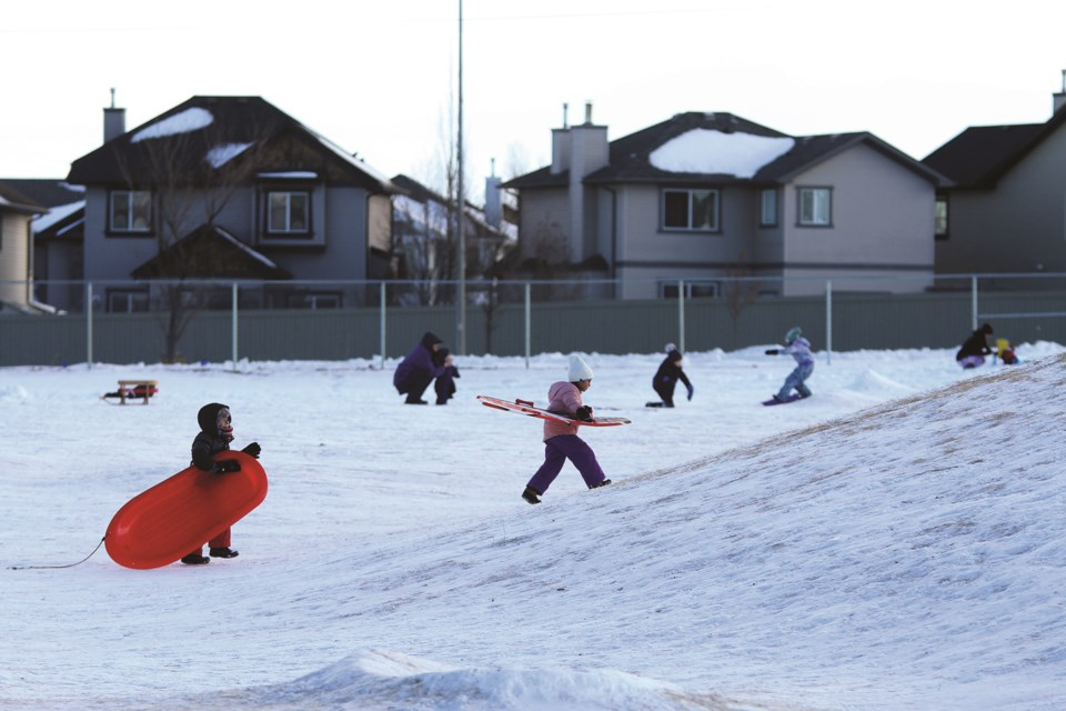 Airdrie's various hills and slopes played host to several excited tobogganers on a sunny Jan. 3 afternoon.