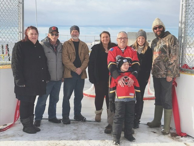 A collaboration between staff at the Town of Irricana, council and community members has resulted in the reopening of the town's outdoor skating rink. (From left to