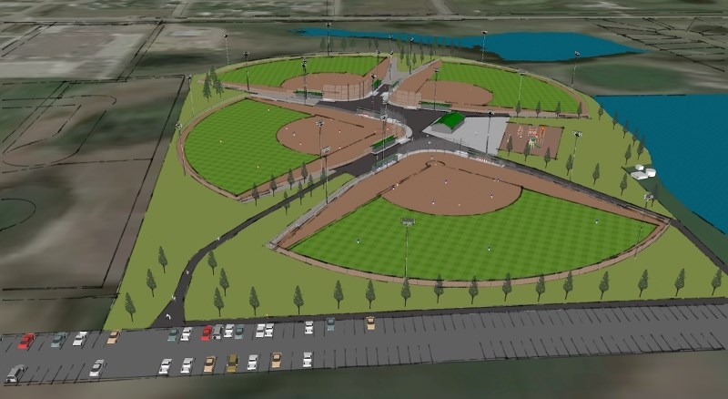 A 3D rendering of the planned Langdon Community Campus, including the quad baseball diamond project. The project is currently in the fundraising stage.