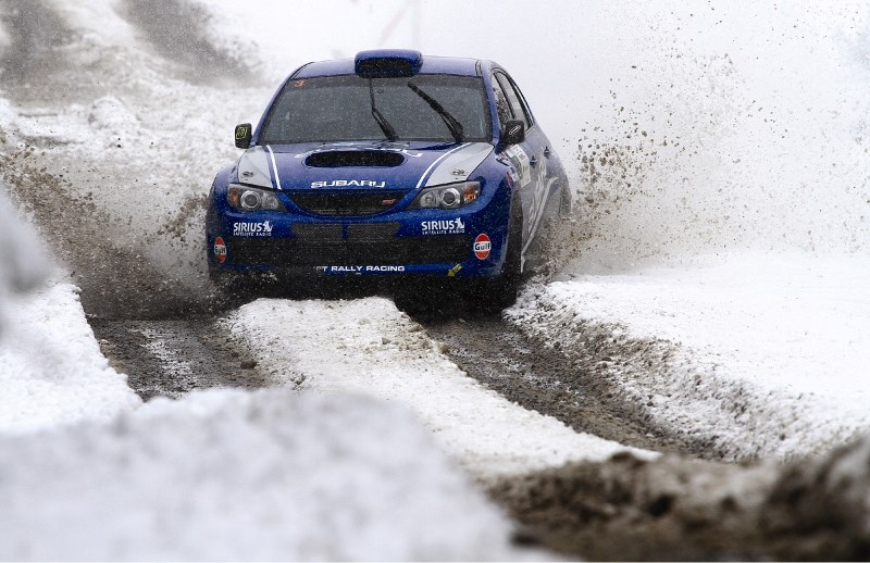 Four-time Canadian champion Patrick Richard drives through winter conditions during the 2010 Rocky Mountain Rally, May 29. Snowy and slushy conditions were the talk of the