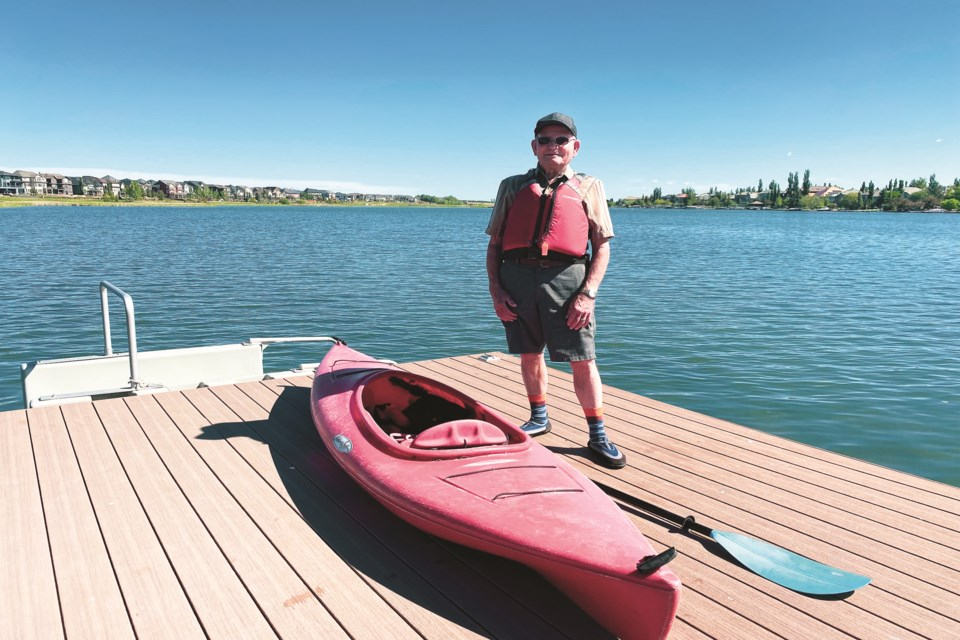 John Timmermans all suited up to go for his daily kayak on Chestermere Lake.