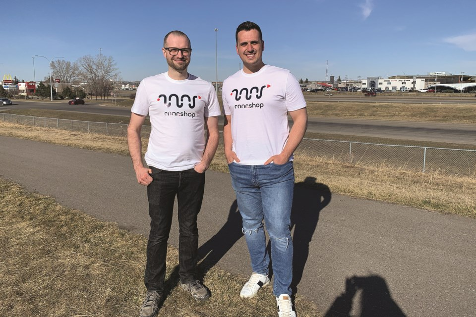 Anthony Morvillo (right) and Andrew Koenig (left) are preparing to launch a new delivery app on April 17. Photo Submitted/For Airdrie City View