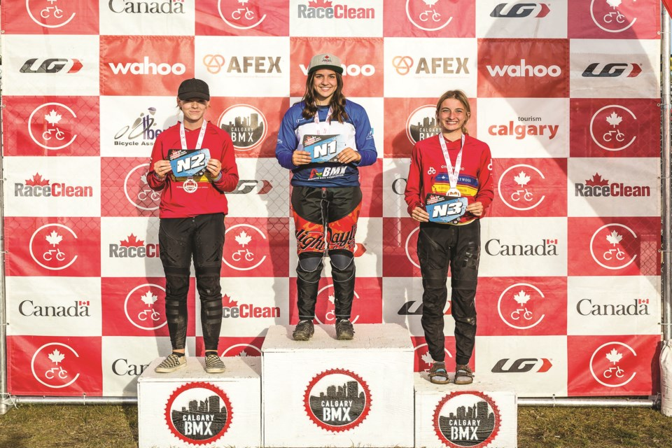 Abygale Reeve, center, smiles after being crowned Canada's national champion, following a race that was held in Calgary this year.