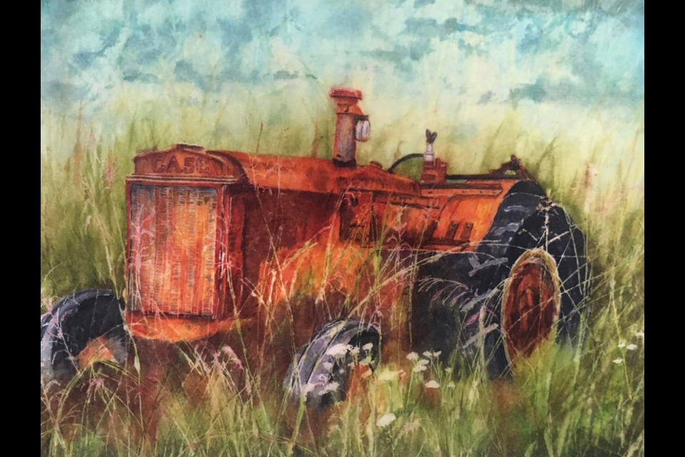 """'I Rest My Case', 8.5""""x11"""", Watercolour Batik on Japanese Rice Paper, by Lorna Penner"""