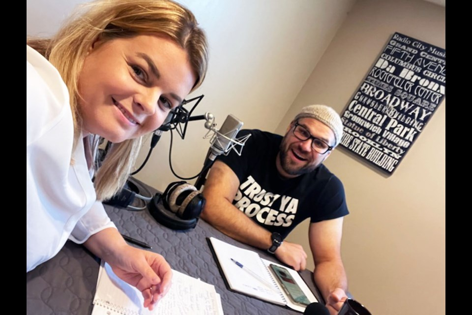 """Chastity Bentham and Bryan Belleau record an episode of their """"What's Happening"""" radio show."""