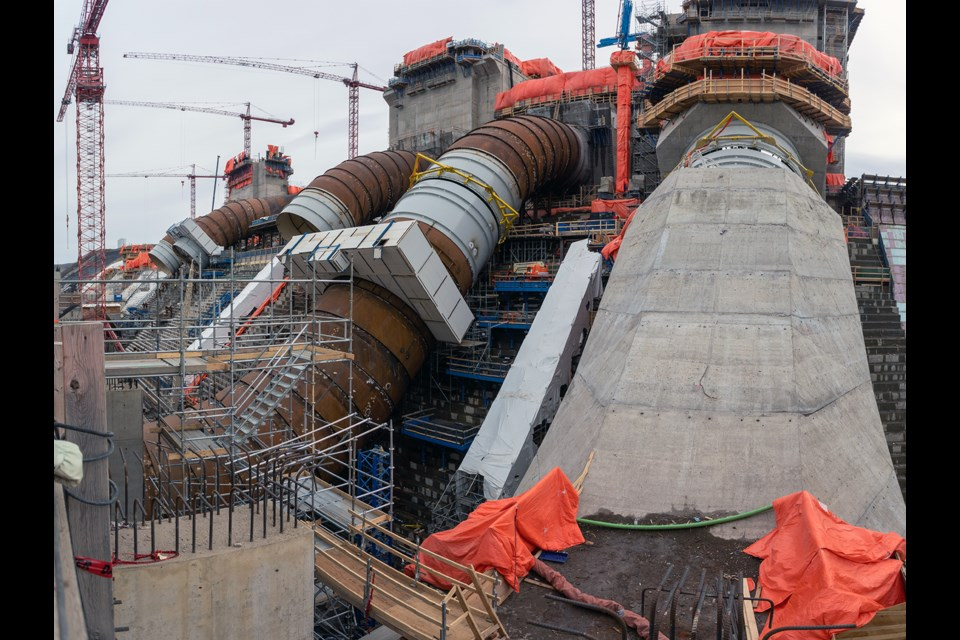 The Site C generating station will have six penstocks to direct water into its six turbine and generator units. Unit 1 penstock is almost complete with crews currently working on the concrete casing, April 2021.