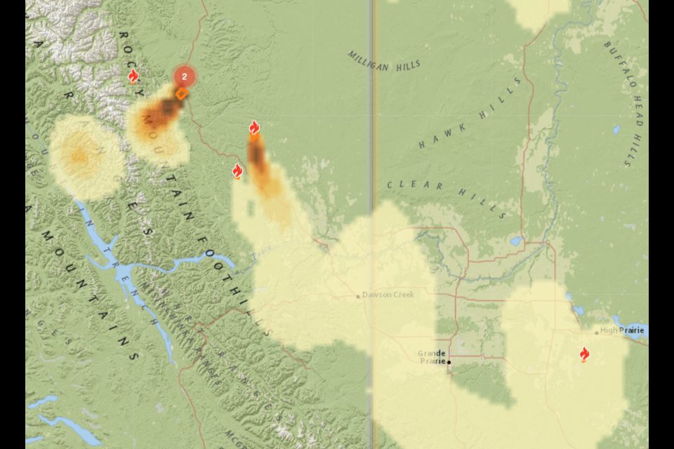 Smoke forecast via Firesmoke.ca