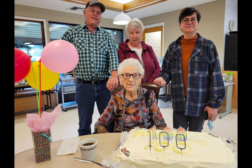 Marg Fulton, together with son Tom, daughter-in-law Cec, and daughter Sheri, celebrated her 100th birthday Oct. 5 at North Peace Seniors Housing Society's independent living residence.