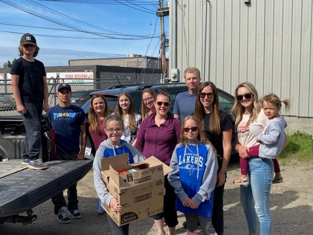 Charlie Lake Elementary students and staff dropped off half of their 1,128 cereal boxes to the Fort St. John Women's Resource Society, June 23, 2021.