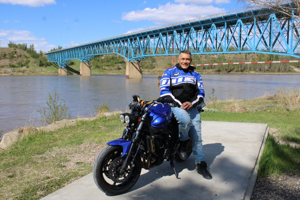Francis Luaifoa takes a break from riding and dropped in at Peace Island Park in Taylor. He recently moved to Dawson Creek and is getting to know the region.