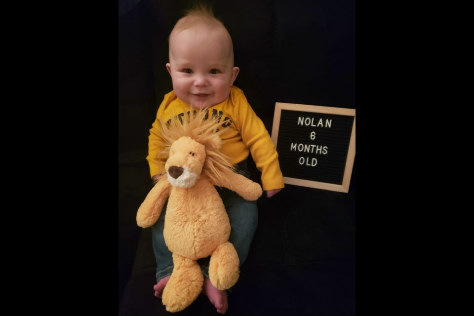 Nolan Radford at six months old in January 2021, just three weeks before his open heart surgery.