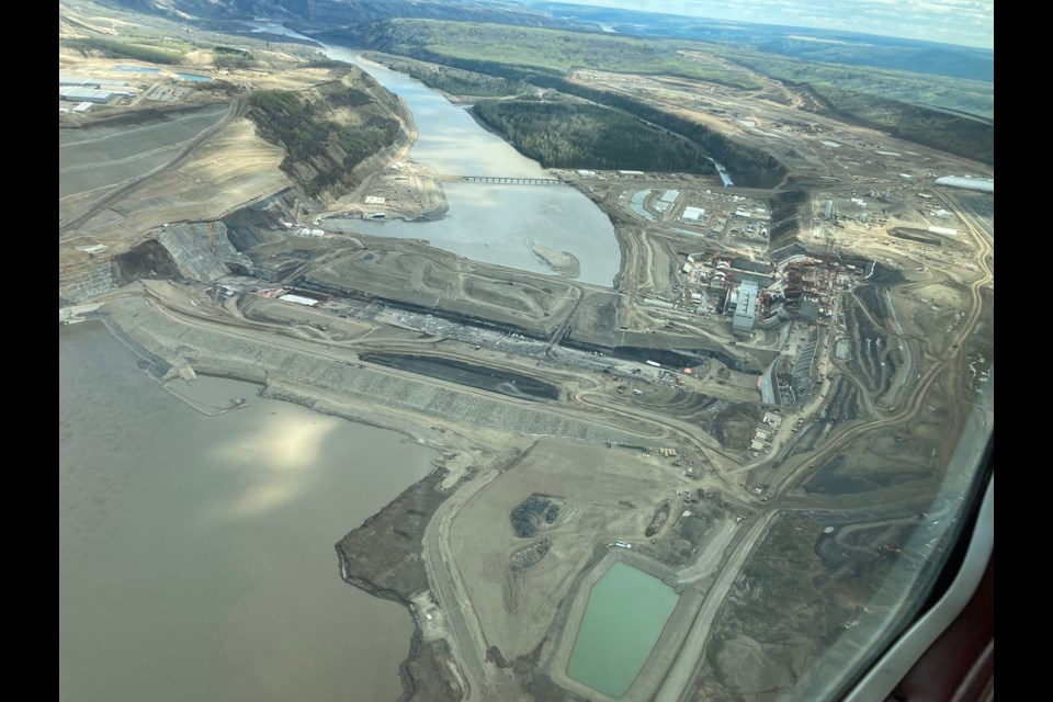 An aerial view of the dam site area. Construction on the Site C project began in July 2015, May 2021.