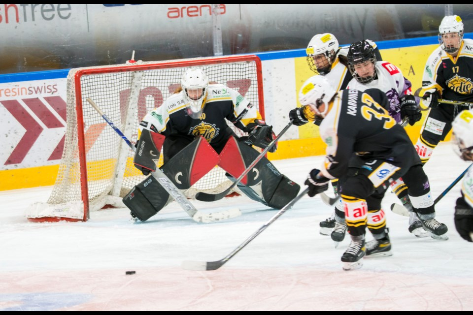 Alexandra Lehmann is dialed in on the play in front of her during SWHL A play in Switzerland this year.