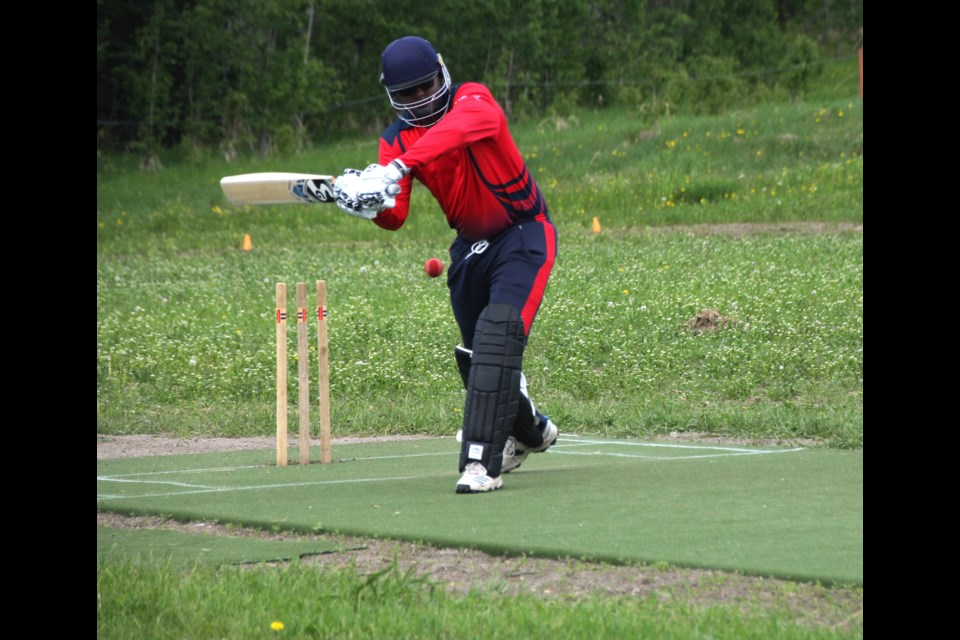 Ananthu Vijayan takes some practice at-bats before the North Peace Cricket Foundation's match between the Northern Bulls and Energetic Stars, at Forster Field, June 5, 2021. The Energetic Stars won 198/4 to 193/6.