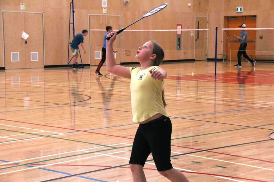 Students of all ages flocked to Ma Murray school Saturday, May 15, for an afternoon of badminton with the Peace Region Badminton Club. Around 25 players are showing up each week for some practice and skills development.Pictured, Ava Kurjata goes for the smash during practice.