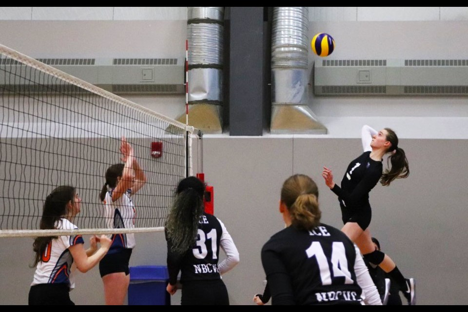 Brandi Hanna goes up for a smash during an NBCVC volleyball match last season.