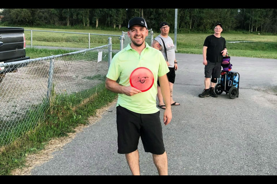 Josh Stokmans wins longest putt on hole 6 at a FSJ Disc Sports Club league night, August 4, at the Fort St. John course.