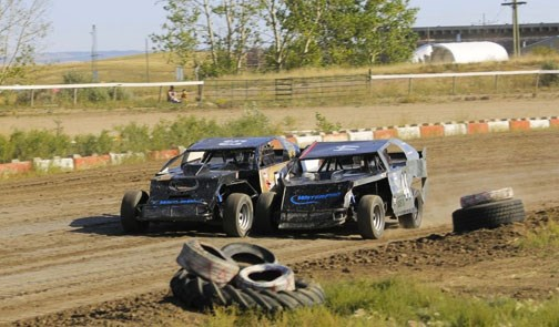 Austin Duncan, left, battled brother Russell Duncan all season to see which brother would win IMCA Canada Rookie of the Year.