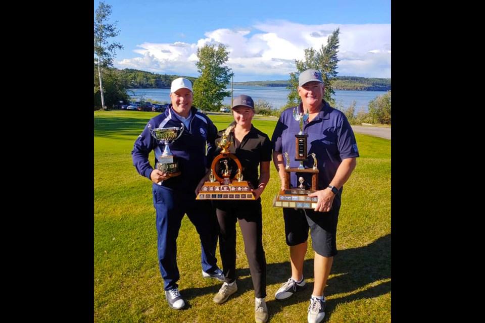 2021 Lakepoint Club Championship winners Justin McKinnon (men's), Victoria Szoo (women's), Lee Hartman (senior men's).