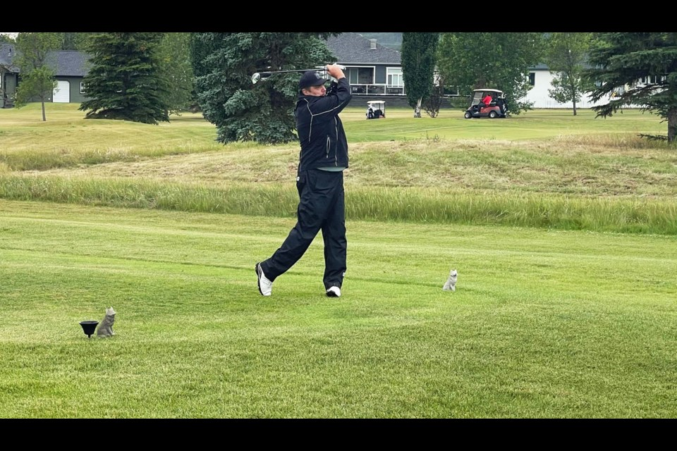 Larry Ramstad tees off on hole one to start his second round of the Lone Wolf Classic, July 18. Ramstad went on to win the championship for the first time since 2019.